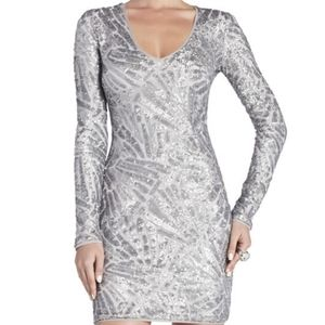 BCBG Max Azria Morris V Neck Deco Sequin Dress XS